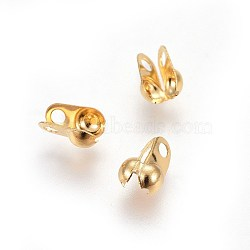 304 Stainless Steel Bead Tips, Calotte Ends, Clamshell Knot Cover, Golden, 6.5x4.5x3mm, Hole: 1.4mm(X-STAS-I100-45G)