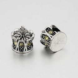 Perles européennes en alliage plaqué argent antique avec strass, grosses perles de la couronne de trous, jonquille, 13x12mm, Trou: 5mm(CPDL-J030-13AS)