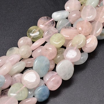 Dyed Natural Morganite Nuggets Beads Strands, 9~12x8~13x5~7mm, Hole: 1mm; about 15.3 inches~15.7 inches(G-J336-14)