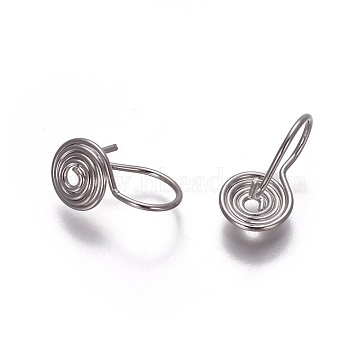 Brass Clip-on Earrings, Spiral, Platinum, 14x8mm; Pin: 0.7mm(EJEW-F196-05P)