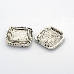 Supports du connecteur de cabochon en alliage de style tibétain, carrée, argent antique, plateau: 15x15 mm; 26x25x6 mm, Trou: 1.5mm(PALLOY-J417-02AS)