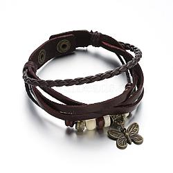 Bracelets multi-rangs avec cordon en cuir, avec accessoires en alliage de bronze antique et cordon ciré, papillon, coconutbrown, 210x12~18x2~5mm(BJEW-M152-03B)