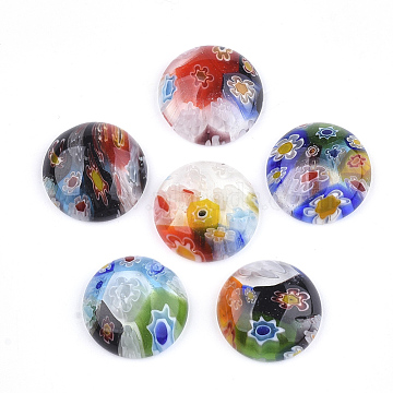 14mm Mixed Color Half Round Lampwork Cabochons