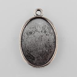 antique alliage d'argent style tibétain paramètres cabochon plat pendentif ovale, cuvettes à bord droit, plateau: 25x18 mm; 32x20.5x2 mm, trou: 2 mm(X-TIBEP-M022-37AS)