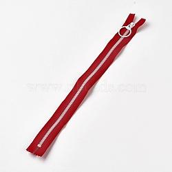 аксессуары для одежды, нейлон и смола закрытой молнией, застежка-молния, красный, 33.3~33.5x2.8x0.2 cm(FIND-WH0028-04-A05)