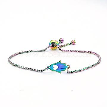 """Bracelets réglables en 201 acier inoxydable, bracelets bolo, avec des chaînes de boîte, hamsa main / main de fatima / main de miriam avec coeur, multicolore, 9-5/8"""" (24.5 cm)(STAS-S105-JN654)"""