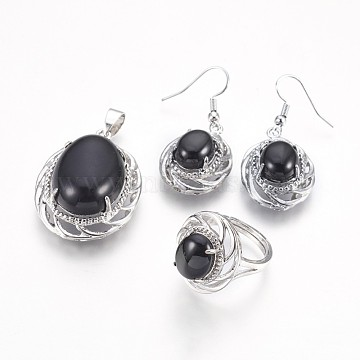 Natural Black Agate Jewelry Sets, Pendants & Dangle Earrings & Finger Rings, Dyed, Oval, Platinum, Pendants: about 38x27x14mm, Hole: 4.5x7mm; Earring: about 42mm; Pin: 0.7mm; Ring: 17mm In Diameter(SJEW-E309-03P)