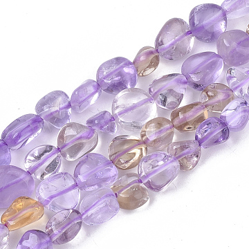 Natural Ametrine Beads Strands, Nuggets, Tumbled Stone, 5~11x5~8x3~6mm, Hole: 0.8mm, about: 52~56pcs/Strand, 15.94 inches(40.5cm)(X-G-S363-052)