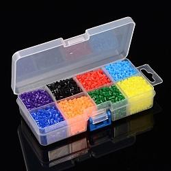 8 couleur pe bricolage perles à repasser fondantes recharges, Tube, couleur mixte, 3~3.3x2.5~2.6 mm; environ 295 pcs / compartiment, 2360 pcs / boîte(DIY-X0241-01-B)