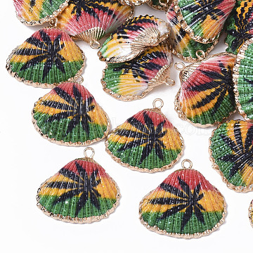 Electroplate Printed Natural Scallop Shell Pendants, Sea Shell Pendants, with Brass Loops, Leaf Pattern, 22~23x23~24x8~8.5mm, Hole: 1.8mm(X-SSHEL-R047-04-A02)