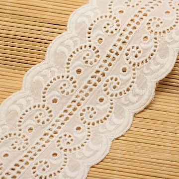 Flower Cotton Ribbon for Jewelry Making, White, 3-1/8 inches(80mm), about 15yards/roll(13.71m/roll)(ORIB-F001-43)