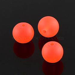 """Chapelets de perles en verre transparente  , mat, rond, orange rouge , 14mm, trou: 1.3~1.6mm; environ 58 pcs/chapelet, 31.4""""(X-GLAA-S031-14mm-27)"""
