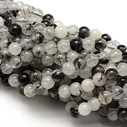 Natural Gemstone Black Rutilated Quartz Round Beads Strands, 8mm, Hole: 1mm; about 48pcs/strand, 15.5inches