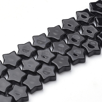 Natural Black Stone Beads Strands, Star, 12x12.5x4~5mm, Hole: 1mm; about 20pcs/strand, 8.66 inches(G-Q974-09)