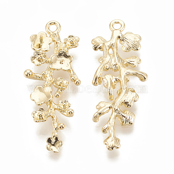 Brass Peg Bails Pendants, For Half Drilled Bead, Flower with Branch, Real 18K Gold Plated, 39x15x3.5mm, Hole: 1.8mm; pin: 0.7mm(X-KK-S345-216)