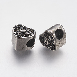 Supports de strass de perles européennes en 304 acier inoxydable, cœur, argent antique, 10x11x10mm, trou: 4.5 mm; ajustement pour 1 mm strass.(STAS-J022-141AS)