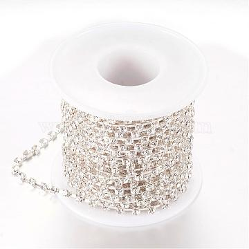 Brass Rhinestone Strass Chains, with Spool, Rhinestone Cup Chains, Silver Color Plated, Crystal, 2.6mm, about 10yards/roll(CHC-T002-SS10-01S)