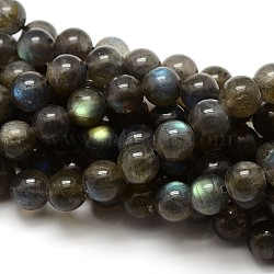 Grade AA Natural Gemstone Labradorite Round Beads Strands, 10mm, Hole: 1mm; about 38pcs/strand, 15.5 inches