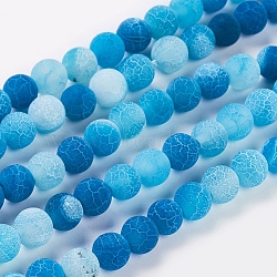 Natural Crackle Agate Beads Strands, Dyed, Round, Grade A, CornflowerBlue, 6mm, Hole: 1mm; about 63pcs/strand, 15.5