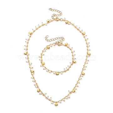 Brass Curb Chains Jewelry Set, Pendant Necklaces & Beaded Bracelets, with Faceted Glass Beads and Brass Star Beads, Golden, 16.22 inches(41.2cm); 7-1/8 inches(18cm)(SJEW-JS01123)
