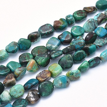Natural Chrysocolla Beads Strands, Nuggets, 8~14x6~10x4~10mm, Hole: 0.8mm; about 40~43pcs/strand, 15.3~15.7 inches(39~40cm)(G-G765-45)