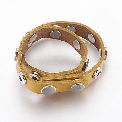 (Дефектная распродажа), задатки кожаный браслет, с латунной досрочных кнопок и выводов сплавов, оснастки браслеты, darkgoldenrod, 17.6 (44.7 см); 14.5x7 мм(AJEW-XCP0001-01)