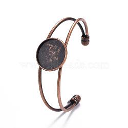 изготовление браслета манжеты из никелированной латуни, пустое основание браслета, с плоской круглой лоток, красной меди, 63 mm, лоток: 20 mm(KK-J184-57R-NF)