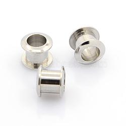 304 inox européennes tringles, œillet pour les grandes perles de trou, couleur inoxydable, 8.5x8mm, Trou: 5mm(STAS-J011-01)