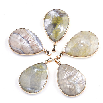 Golden YellowGreen Drop Fire Agate Pendants