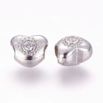 12mm Heart Brass+Cubic Zirconia Beads
