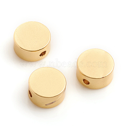 Matte Style Brass Beads, Long-Lasting Plated, Flat Round, Real 14K Gold Plated, 6x3mm, Hole: 1mm(X-KK-L155-19MG)