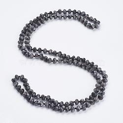 """Натуральные лабрадоритные бисерные многоразовые ожерелья / браслеты для обертывания, три-четыре петли браслеты, граненые, счеты, 37.4"""" (95 см)(NJEW-K095-A02)"""