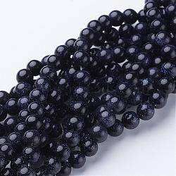 Chapelets de perles en pierre d'or bleue synthétique, rond, 8mm(GSR053)