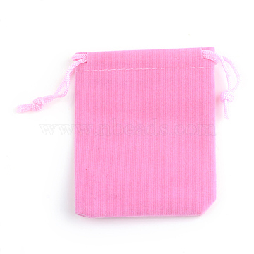 Rectangle Velvet Pouches, Gift Bags, Pink, 7x5cm(X-TP-R022-5x7-06)