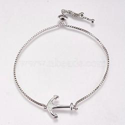 bracelets bolo réglables en laiton, bracelets de slider, avec opale synthétique, ancre, platine, blanc, 8-1 / 4 (210 mm); 1 mm; 20.5x14.5x2 mm(BJEW-E333-09P-D)