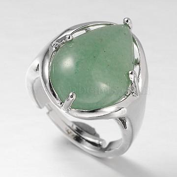 Drop Platinum Plated Brass Gemstone Adjustable Wide Band Rings, Green Aventurine, 18mm, Tray: 20x17mm(X-RJEW-L062-02E)