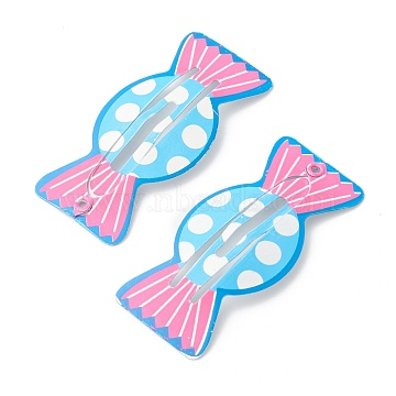 Baking Painted Stainless Iron Snap Hair Clips, for Children's Day, Candy, Colorful, 49.5x23.5x2.8mm(PHAR-B0002-13)