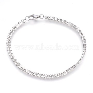 304 Stainless Steel Curb Chain Bracelets, with Lobster Claw Clasps, Stainless Steel Color, 8-3/8inches(21.3cm), 4x1.7mm(BJEW-P235-12P)