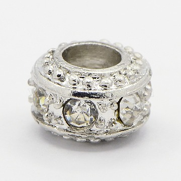 Alloy Glass Rhinestone European Beads, Large Hole Beads, Rondelle, Platinum Metal Color, Crystal, 10x7mm, Hole: 5mm(X-RB-D078-07)