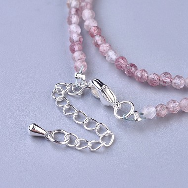Natural Strawberry Quartz Beaded Necklaces(NJEW-K114-A-A14)-3