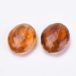 Perles acryliques, ambre d'imitation, facette, ovale, chocolat, 20x16.5x7mm, Trou: 1mm(X-OACR-S016-30)