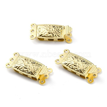 Brass Filigree Box Clasps, Multi-Strand Clasps, 3-Strands, 6 Holes, Rectangle, Real 24K Gold Plated, 20x10x4.5mm, Hole: 1mm(KK-O131-01G)