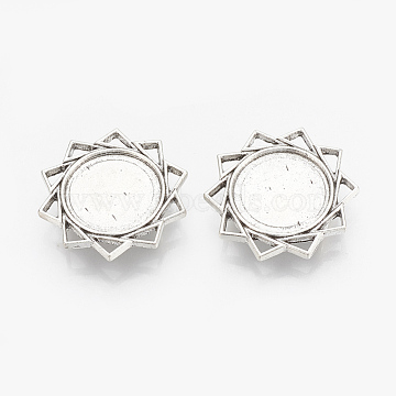 Tibetan Style Alloy Slide Charms Cabochon Settings, Cadmium Free & Lead Free, Flower, Antique Silver, Tray: 18mm; 29x6mm, Hole: 10x2mm, about 150pcs/1000g(TIBEB-R068-07AS-LF)