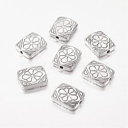 perles en alliage de style tibétain, rectangle avec fleur, sans plomb libre et nickel et cadmium libre, argent antique, sur 12 mm de long, 10 mm de large, 3 mm d'épaisseur, trou: 1.5 mm(X-LF10658Y-NF)