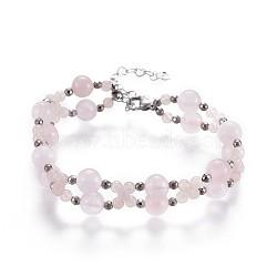 """Bracelets à cordes multiples en perles à quartz rose, avec des perles d'hématite non magnétiques et 304 pièces d'acier inoxydable, 7-1/2"""" (19cm) ~ 7-5/8"""" (19.5cm)(BJEW-JB04193-03)"""