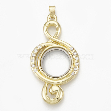 Alloy Magnetic Locket Big Pendants, with Rhinestone and Glass, Treble Clef, Crystal, Golden, 59.5x32x6.5mm, Hole: 4x6mm; Inner Diameter: 18.5mm(PALLOY-T052-02G)