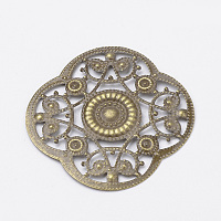 Железные подвески, филигрань, цветок, античная бронза, 45x45x1 мм