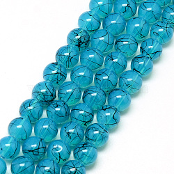 Drawbench & Baking Painted Glass Beads Strands, Imitation Opalite, Round, DeepSkyBlue, 6mm, Hole: 1.3~1.6mm; about 133pcs/strand, 31.4inches(X-DGLA-Q023-6mm-DB80)
