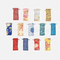 Pochettes en soie, sac de cordon, couleur mixte, 19x7.5~8 cm(ABAG-WH0013-M)