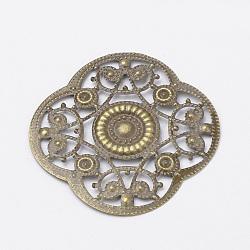 Iron Pendants, Filigree, Flower, Antique Bronze, 45x45x1mm(IFIN-R0029-AB)